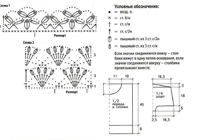 Ажурные топы крючком из японских журналов со схемами и описанием в фото