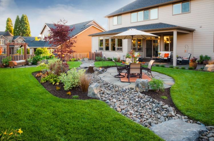 Дизайн двора загородного частого дома — идеи для садового участка (41 фото) в фото