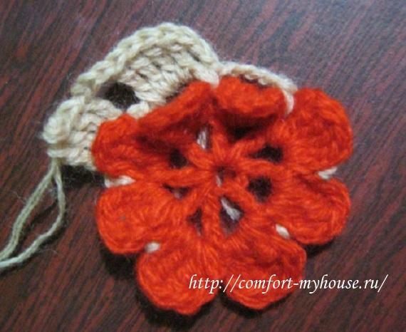 Плед крючком Снежная роза в фото