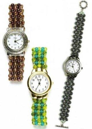 Схема плетения бисером браслета для наручных часов в фото