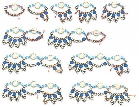 Схема плетения бисером колье «Желанное» в фото
