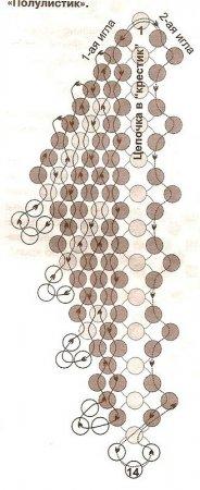 Схема плетения бисером полу листиков к колье «Чудо» в фото
