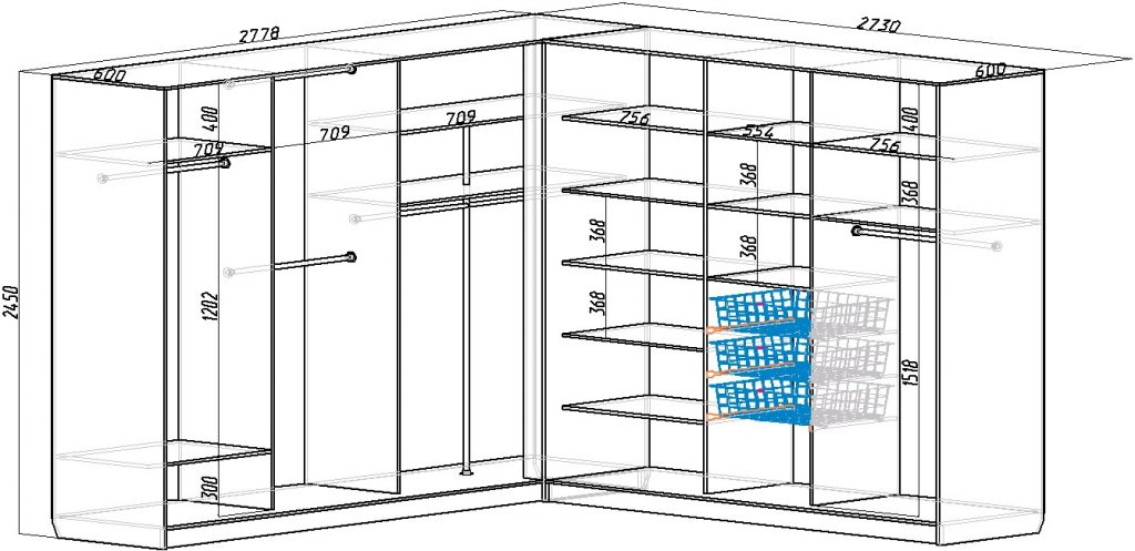 Схемы наполнения угловых шкафов-купе