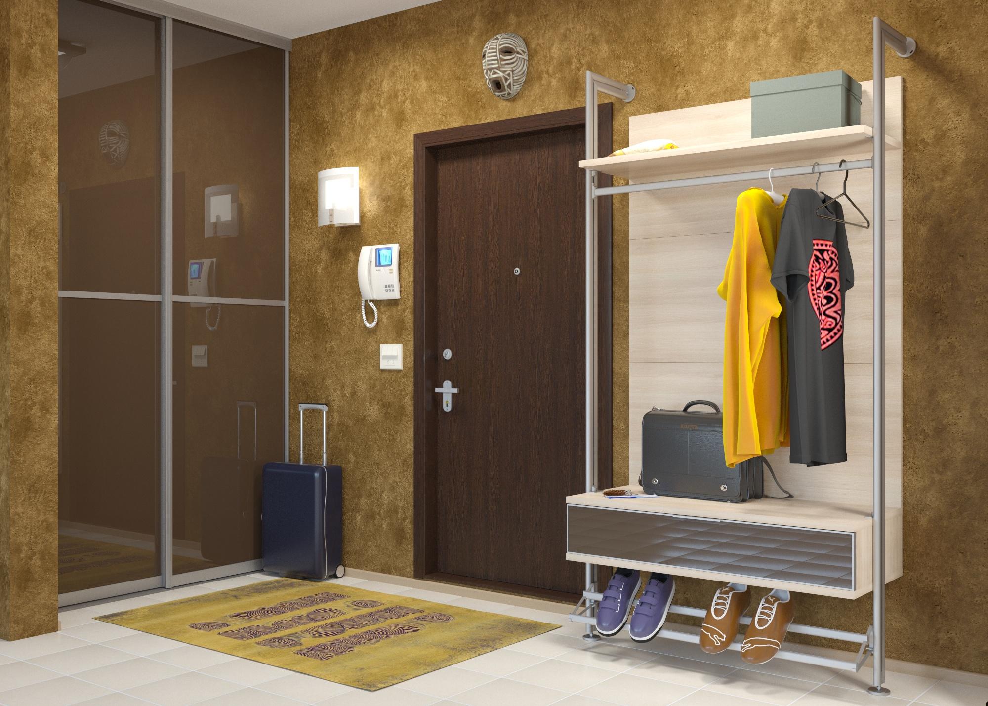 Шкаф-вешалка с обувницей для маленькой прихожей