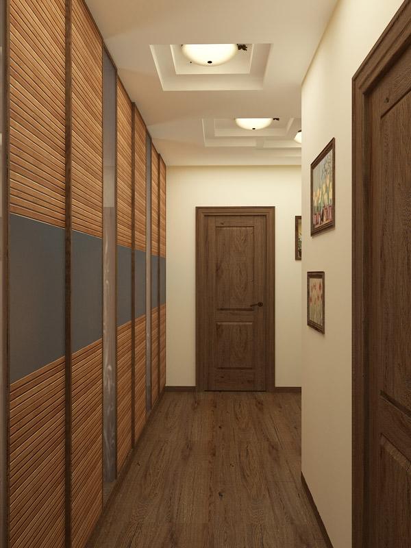 Сочетание дверей и плинтусов в узком коридоре