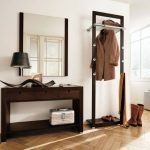 Creative hallway furniture mirror coat rack and small desk