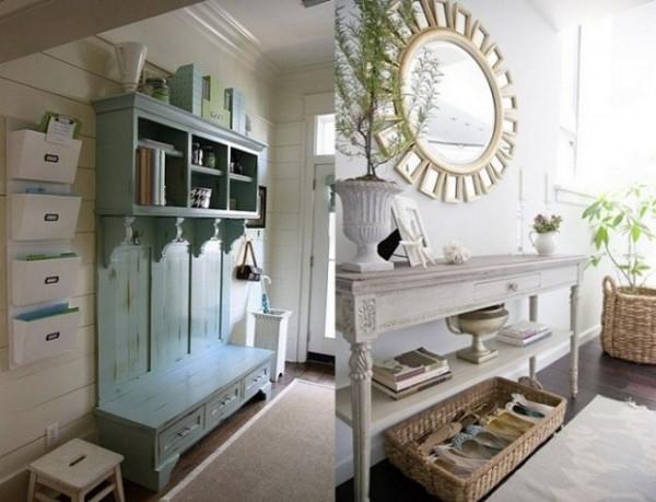 Мебель под старину в интерьере прихожей в стиле прованс