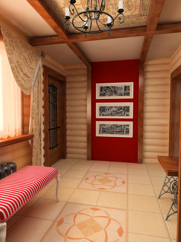 Фото оригинального дизайна сводчатого потолок в прихожей частного дома