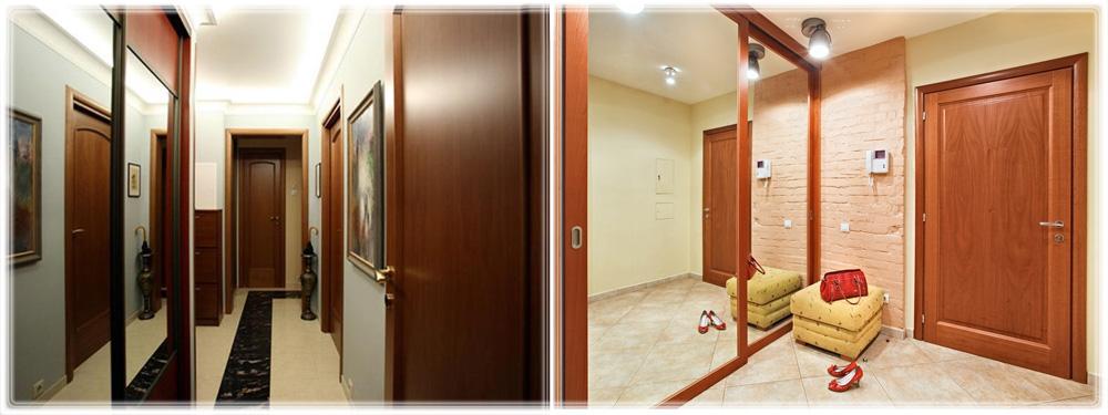 Зеркальные шкафы-купе в прихожей с зеркалами в маленьких коридорах