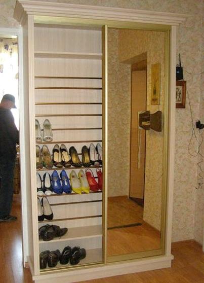 Узкий высокий шкаф для обуви