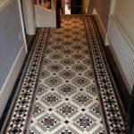Victorian patterned floor tiles hallway