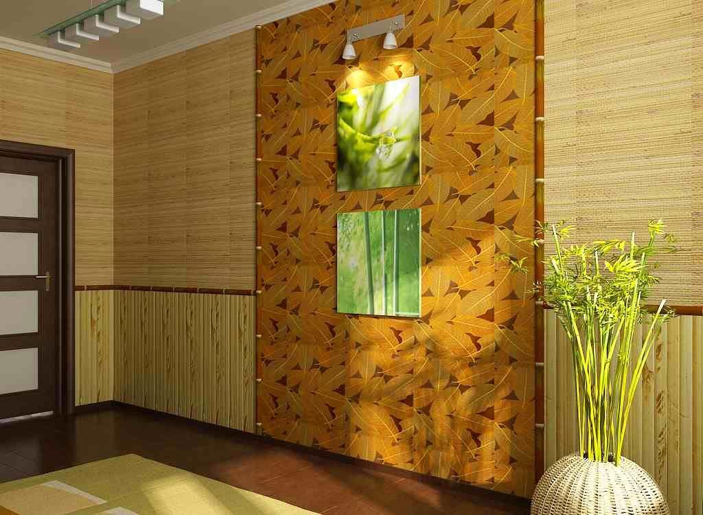 Бамбуковые обои в маленьком коридоре