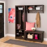 brown wooden mini bench and shoe storage and cloths hanger combined with grey long mat on natural wooden floor as well as hall storage benches and benches with backs