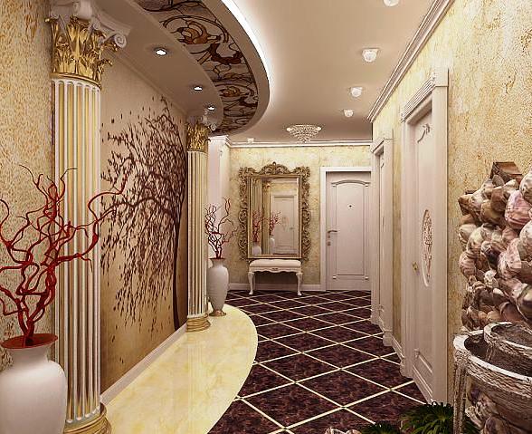 Фото краисвых дизайнерских обоев при малогабаритном коридоре в квартире