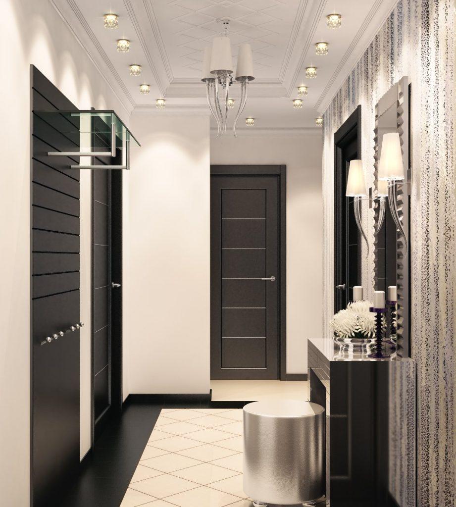 Красивый потолок в черно белом дизайне прихожей