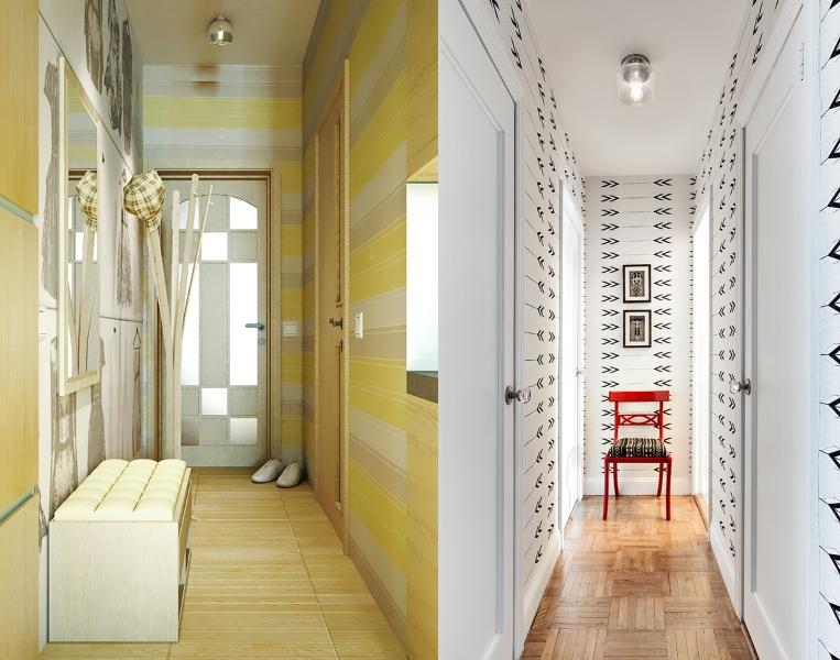 Малогабаритные коридоры с горизонтальными обоями