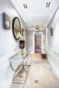 hallway-bench-Hall-Contemporary-with-candle-wall-sconce-console-table-gray-wall-hallway-bench-narrow-hallway-pendant