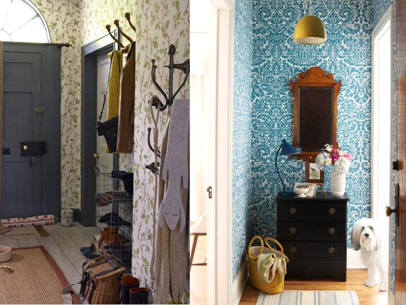 Фото обоев с мелким принтом в ремонте квартиры с малогабаритными коридорами