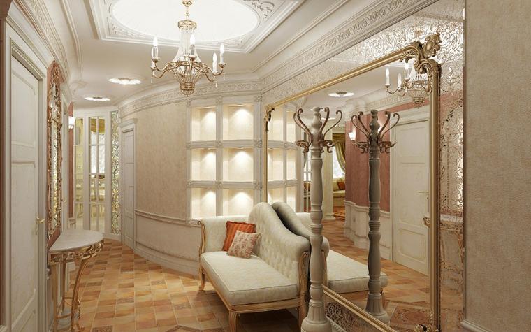 Зеркала с багетами в классической прихожей
