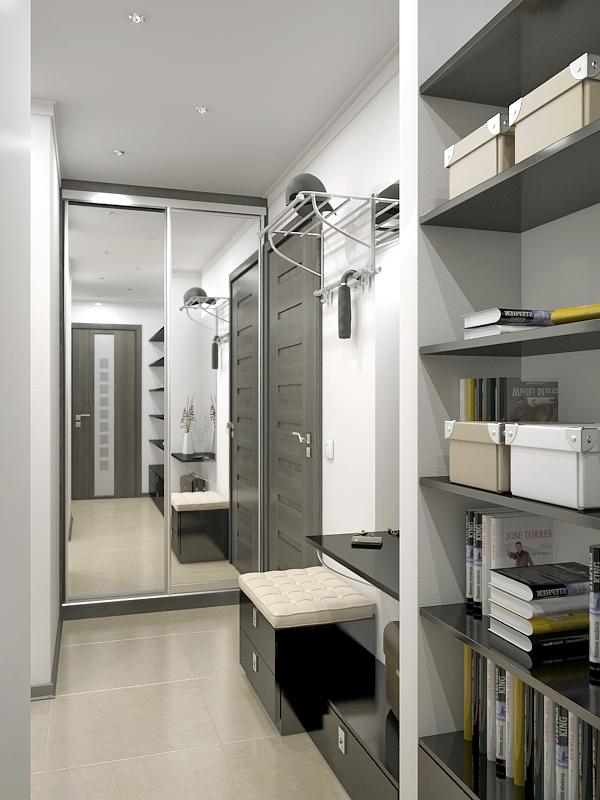 Пример использования зеркала в узком коридоре
