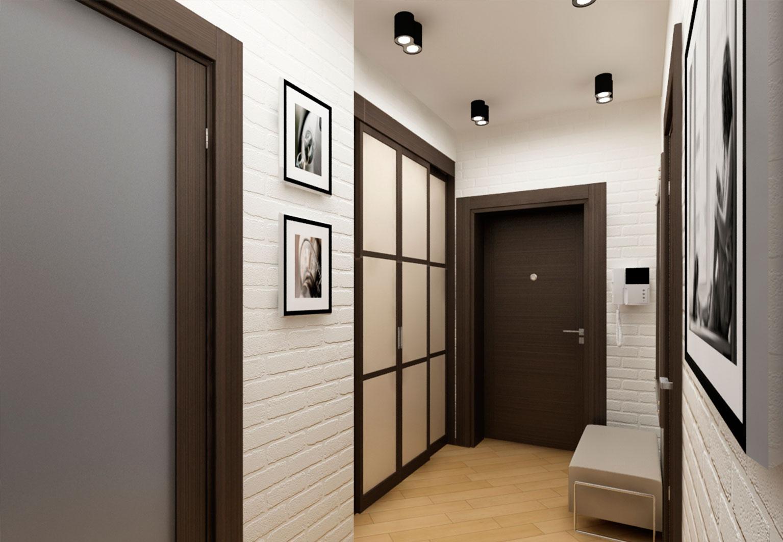 Кирпич в коридоре фото