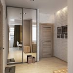 modern small apartment design ideas hallway with brick wall and large mirrors