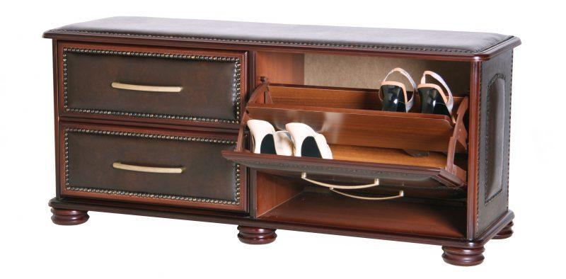 Банкетка с полками для обуви закрытого типа