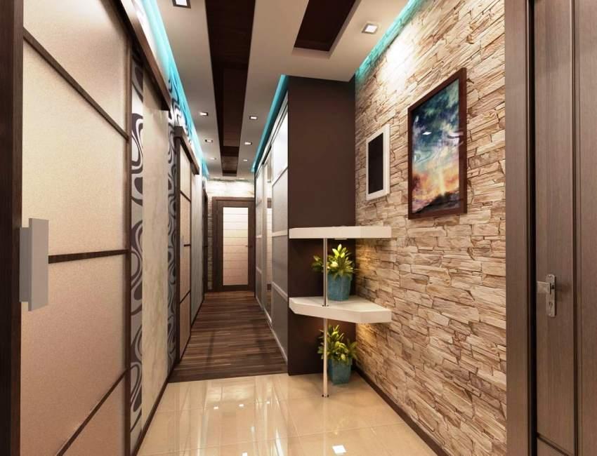 Фото малогабаритного коридора с отделкой искусственным камнем