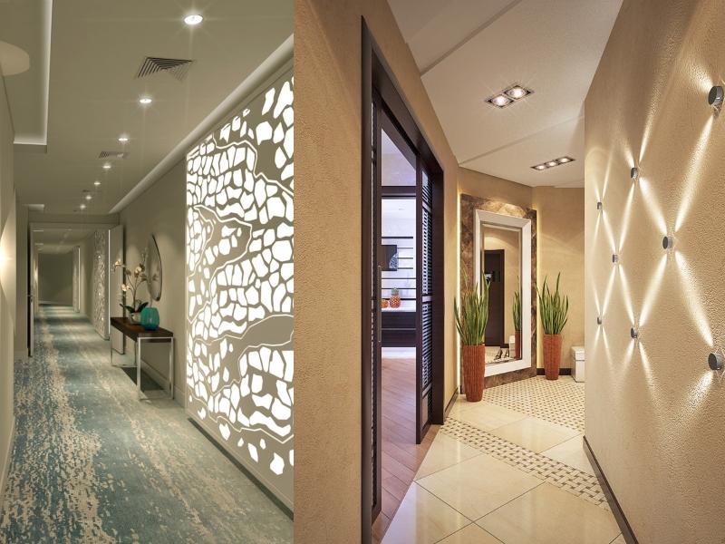 Интересные идеи подсветки стен в прихожей