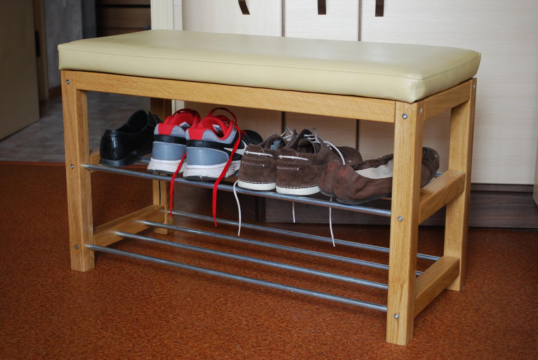 Открытая обувница с полками и сидениями
