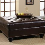 popular large ottoman coffee table square shape brown lear upholstery solid wood frame material black wood turned tufted design brass nailhead trim details leather ottoman coffee table