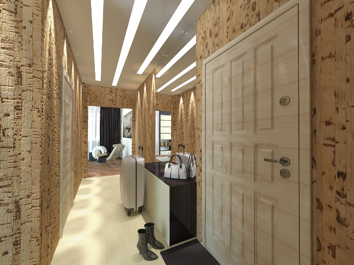 Фото пробковых обоев в при малогабаритном коридоре в квартире