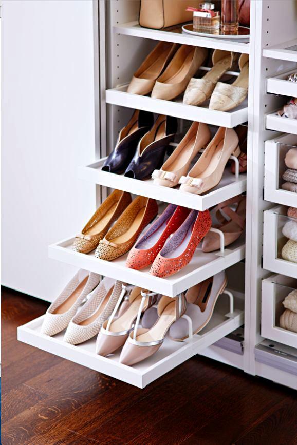 Обувница с раздвижными полочками для прихожей