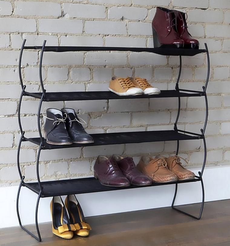 Узкий  шкаф для обуви в прихожей из металла