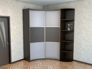 Встроенный угловой шкаф купе вогнутой формы для прихожей
