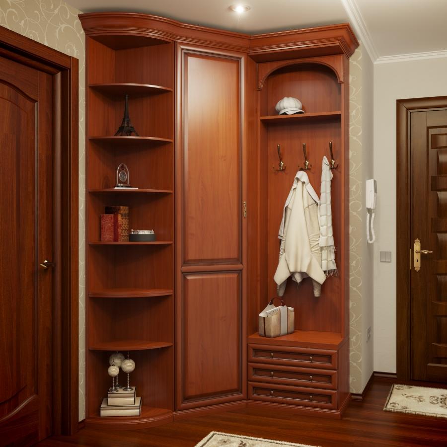 Высокий угловой шкаф для маленькой прихожей