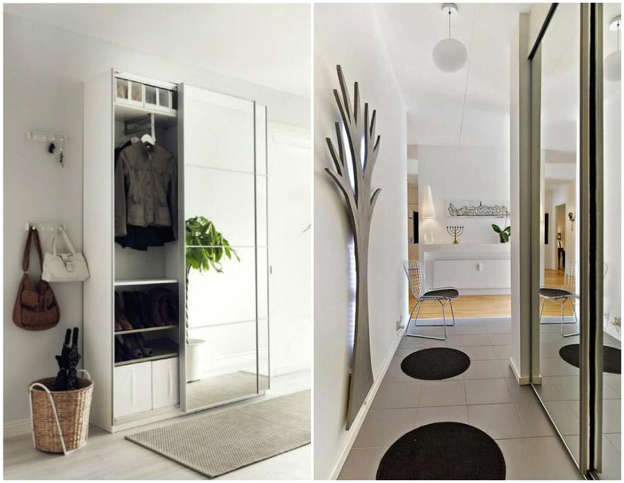 Зеркальные шкафы-купе в дизайне маленькой прихожей
