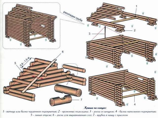 Постройка бани из бревна своими руками подробная схема 97