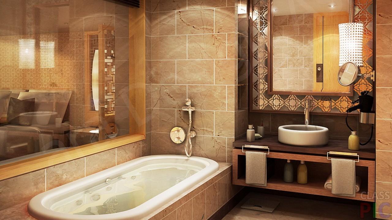 Интерьер ванной комнаты с ванной фото